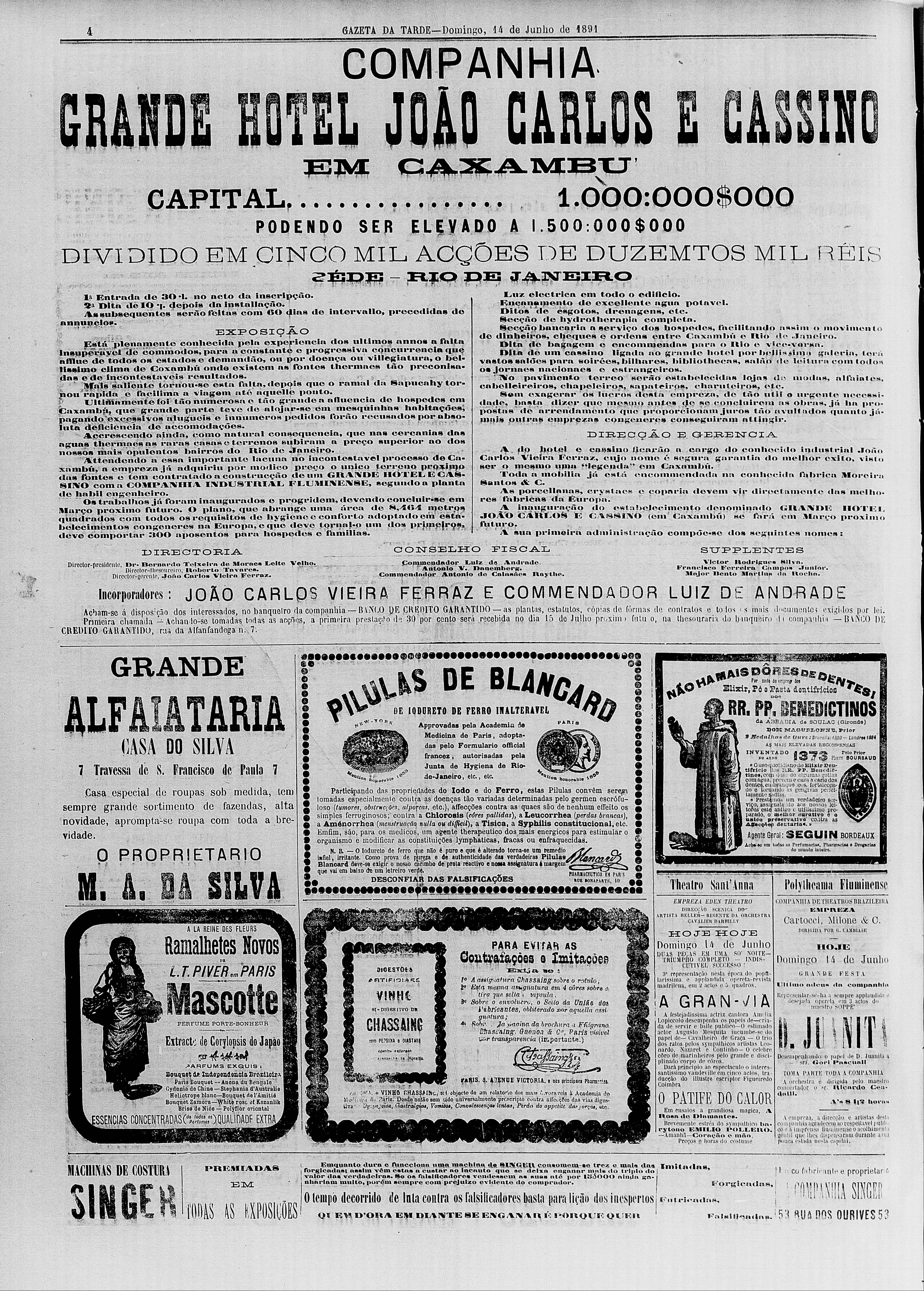 Gazeta da Tarde, 14 de junho de 1891